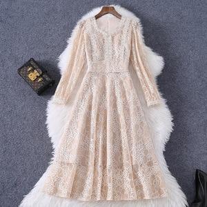 Women elegant hollow out lace dress new 2021 spring summer vintage fahsion high waist a-line long sleeve midi dresses beige