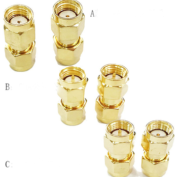 100pcs Brass Gold-plated SMA Male to RP-SMA Male Female Plug in Series RF Coax Connector Coupler Straight SMA-JJ RP-SMA-JJ