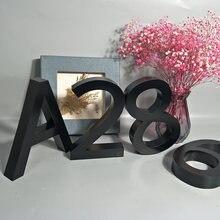 Preto metal 3d números de casa moderna assinar 0-9 abc placas de porta de apartamento casa à prova dwaterproof água ao ar livre letras de aço inoxidável addresss
