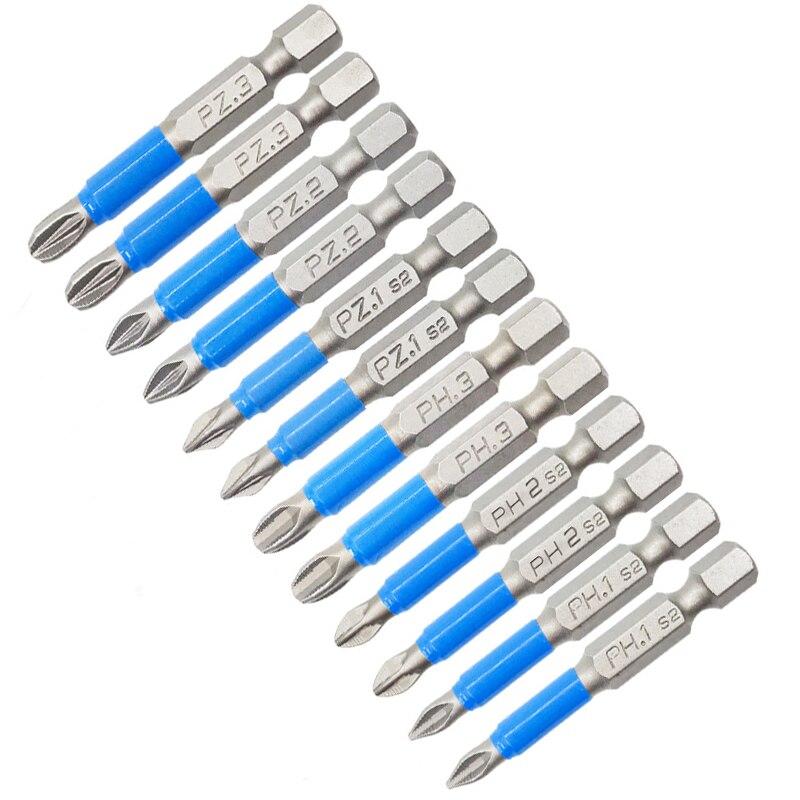 Electric Anti Slip Electric Power Tools Repair Work Accessories Drill Screwdriver 50mm 25mm 10Pcs Magnetic Screwdriver Bit Set