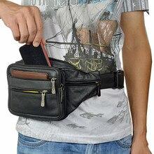Black Men Genuine Leather Waist Bag Mens Travel Fanny Packs  Male Adjustable Belt Messenger Bags