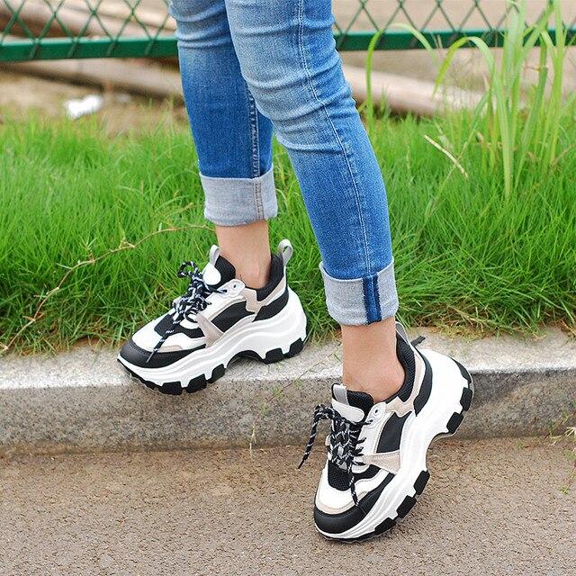 Tênis chunky feminino plataforma inferior grossa vulcanize sapatos moda respirável casual tênis de corrida para a mulher do sexo feminino 2020 2
