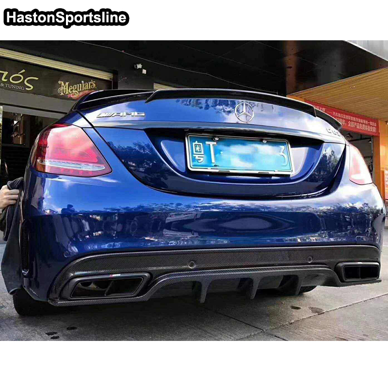 <font><b>W205</b></font> C63 AMG B Style Carbon Fiber Car Rear Spoiler Wing for Mercedes <font><b>Benz</b></font> <font><b>W205</b></font> C63 AMG Sport <font><b>Bumper</b></font> 4Door 2015-2018 image