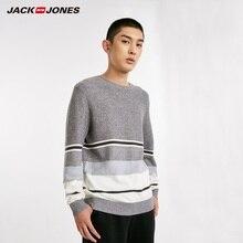 JackJones männer Kontrast Gestreiften 100% Baumwolle Pullover Pullover Top Herrenmode Neue Marke 218424501