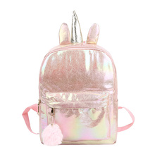 Women Backpack Travel Bags Silver Laser Backpack Women Girls Shoulder Bag PU Leather Holographic Student School Backpacks недорого
