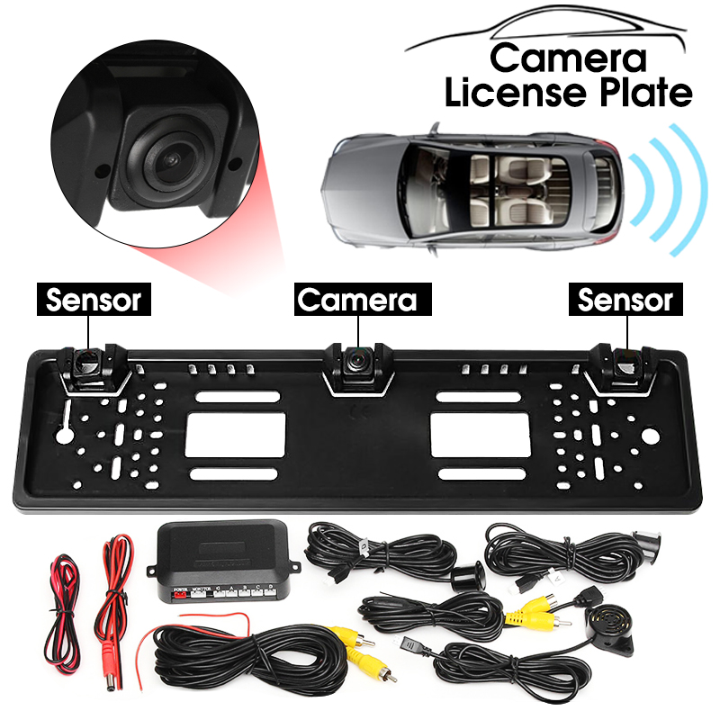 Universial HD CCD Car Rear View Camera EU European License Plate Frame Parking Reverse Camera Radar Probe Parking Sensors