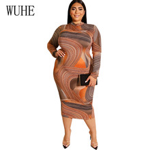 WUHE Vintage Large Size 4XL 5XL Women Vestidos Elegant Long Sleeve O-neck Hollow Out Maxi Dress Femme Plus Retro