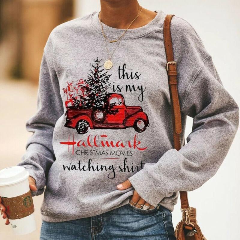 Brand New Women Long Sleeve Sweatshirt Autumn Crew Neck Christmas Tree Casual Pullover Tops Womens Fashion Printed Sweatshirts