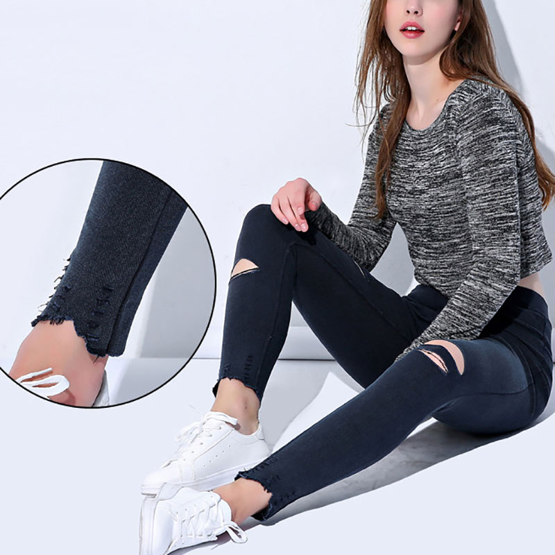 2020 Spring And Autumn New XL Size M-4XL Summer Hole Stretch Elastic Leggings Jeans Ladies Tight High Waist Tight Black Pencil P