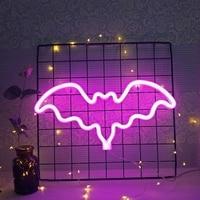 Luz LED de neón en forma de murciélago, lámpara de neón colorida, lámpara de noche para habitación de niños, decoración de pared para el hogar, Bar, Decoración Para Boda o fiesta de Navidad de vacaciones