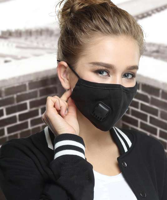 Anti Dust PM2.5 Flu Mouth Mask Filter Respirator Breath Valve Black Masks Cotton Washable  Face masks Man Women 2