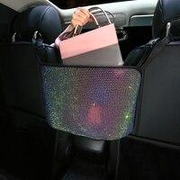 Cristal strass saco de armazenamento de carro organizador barreira do banco de trás titular multi bolsos recipiente de carro estiva tidying|Redes|Automóveis e motos -