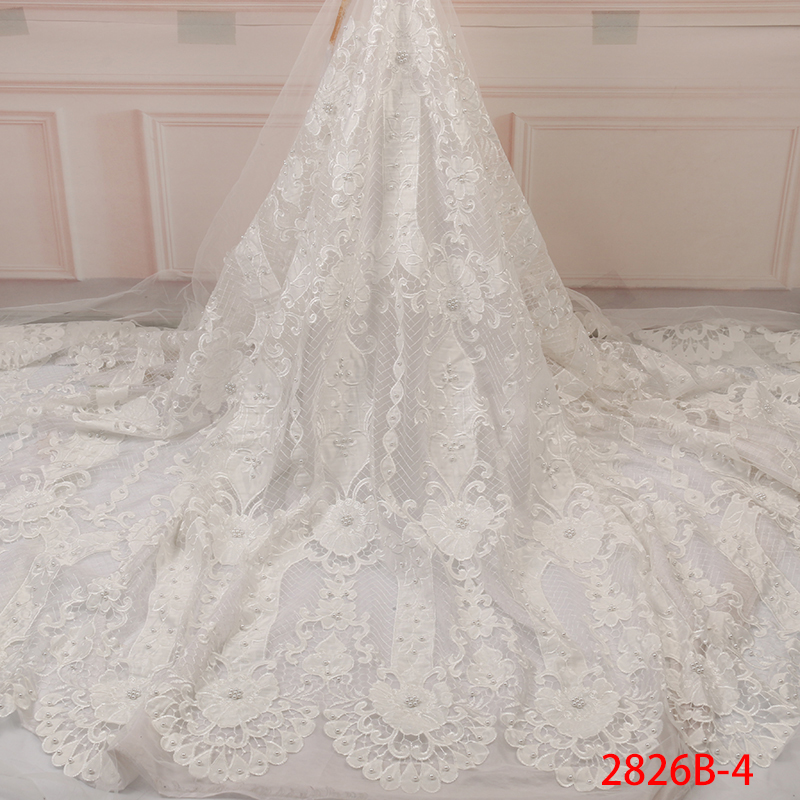 French Lace Nigerian African Lace Fabric Hot Sale Tulle Lace With Beads High Quality French Lace Fabric Embroidery YA2826B-4