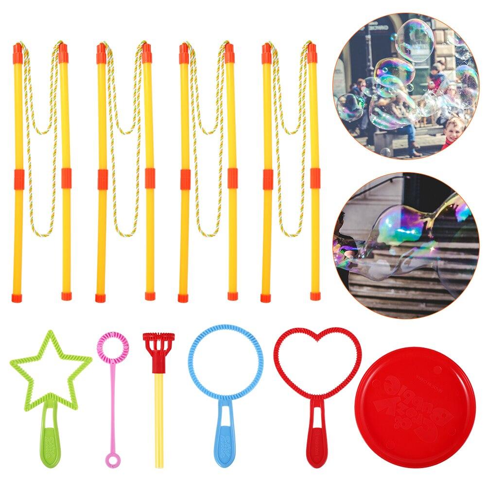 Colorful Bubbles Wands Set Kids Outdoor Toys Lightweight Non-toxic Plastic Giant Soap Bubbles Wands Set Children Activity Props