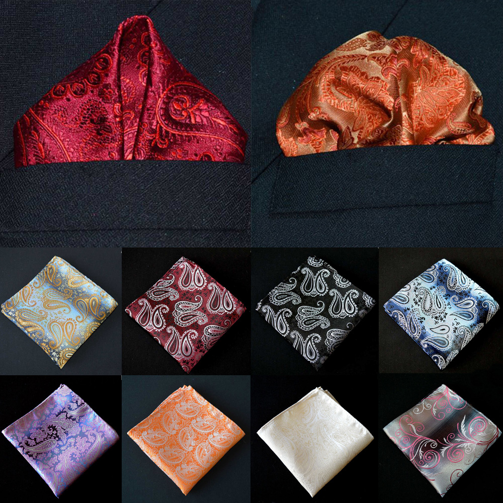 Men Handkerchief Business Paisley Floral Printed Pocket Square Party Accessories BWTYX0307