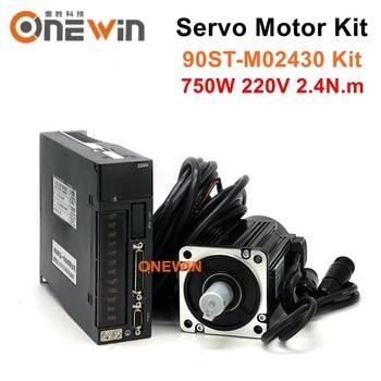 цена на 90ST-M02430 750W 220V AC servo motor driver kit 3000rpm 2.4N.m match driver permanent magnet