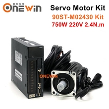 90ST M02430 750W 220V Ac Servo Motor Driver Kit 3000Rpm 2.4N. M Match Driver Permanente Magneet