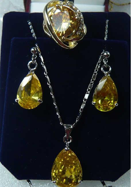920 + + + atacado perfeito combinar amarelo cristal prata chapeado semi-precioso brincos pingente & anel (#7.8.9) conjunto de jóias
