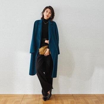 Abrigos de lana cálidos para mujer, abrigo de lana largo azul turquesa,...