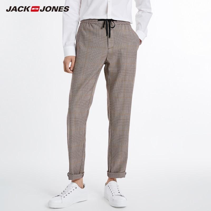 JackJones Men's  Business Smart Casual Plaid Printed Khaki Pants Style 218314589