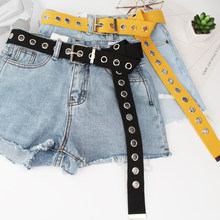 Long Personality Harajuku Casual Ring Waist Metal Black Jean Silver Belts Pin Students Buckle Belt Canvas Tide()