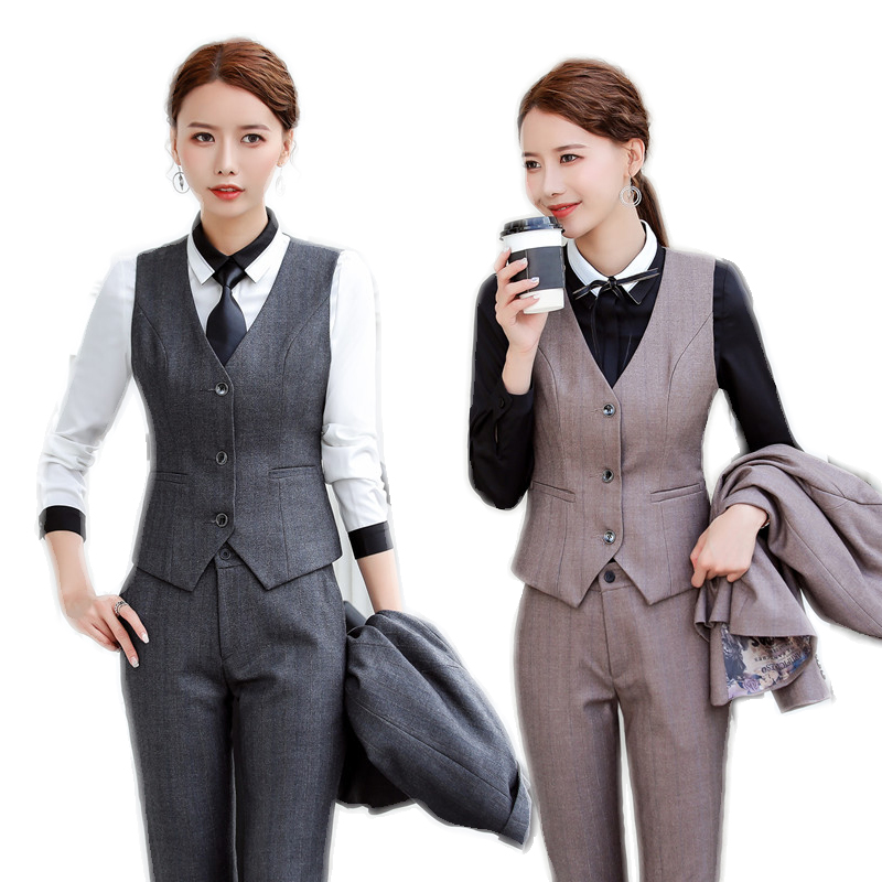 Formal Uniform Designs 2 Piece With Tops And Pants For Business Women Waistcoat & Vest Coat Pants Suits Trousers Sets Plus Size