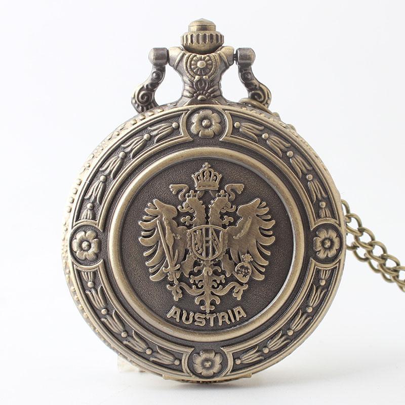 Pocket & Fob Watch Antique  Bronze The Double Eagle Quartz Pocket Watch Austria National Emblem Full Hunter Necklace Gift