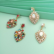 2020 Exaggerated Colorful Crystal Heart Shape Big Drop Earrings for Women Gold Color Metal Hollow Out Dangle Earrings Jewelry цена 2017