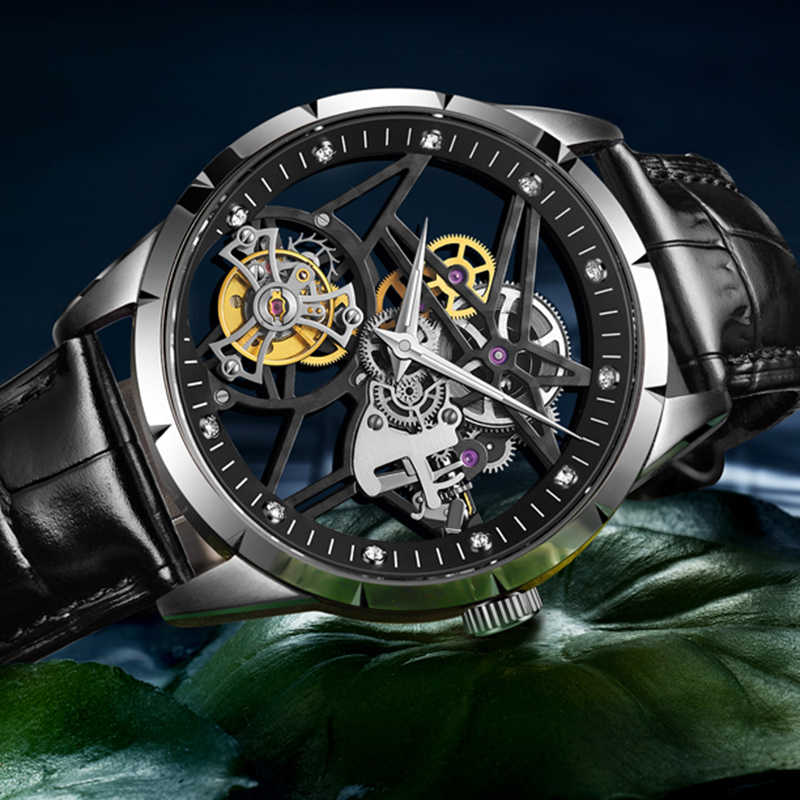 Guanqin スケルトン男性はリアルトゥールビヨン機械式時計リアルサファイア時計防水トップブランドの高級レロジオ masculino