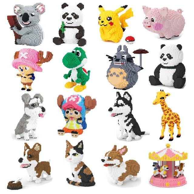 Xizai Animal Husky Schnauzer Corgi chien persan chat Panda girafe cochon Pika Mario Yoshi bricolage Mini blocs jouet de construction sans boîte