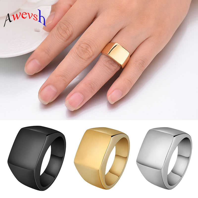 Awevsh Smooth Men's Black Rock Punk Rings Cool Fashion Individuality Signet Ring for Men Party Jewelry