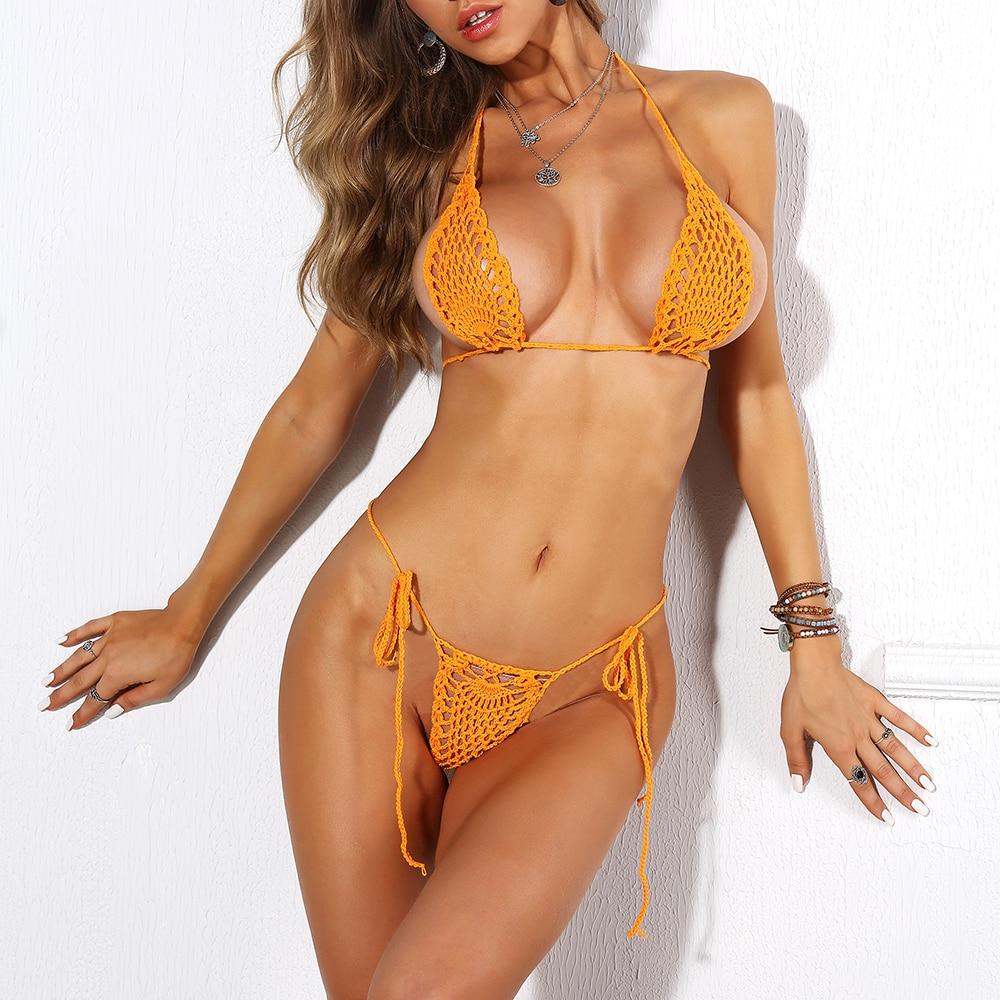 Сексуальное бикини Push Up Бикини, женский бюстгальтер, однотонный купальник, вязаный купальник, летняя пляжная одежда, купальный костюм