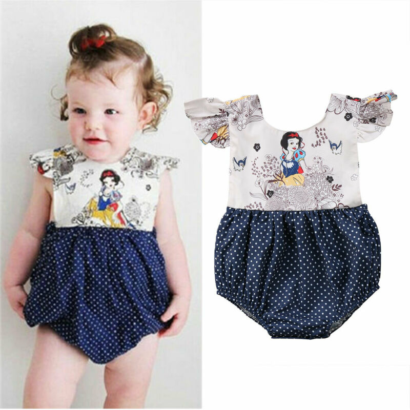 Newborn Baby Girl Clothes Snow White Jumpsuit Romper Bodysuit Sunsuit Outfits 0-24M