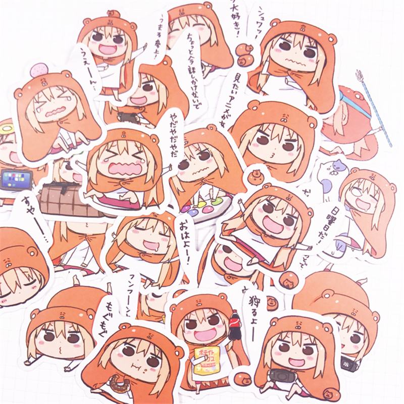 24 Pieces Japanese Style Anime Cartoon Personali Glue Himouto! Umaru-chan Princess Kid Paper Stickers For Message Notebook