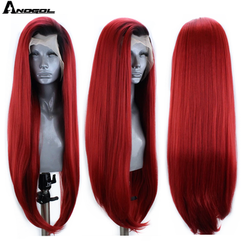 Anogol Dark Roots Ombre Red Synthetic Lace Front Wig with Baby Hair Long Straight Heat Resistant Wigs for Black Women - discount item  30% OFF Synthetic Hair