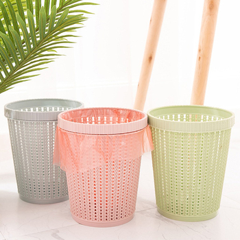 цена на Plastic Rattan-like Round Lidless Trash Can Creative Kitchen Pressure Circle Trash Can Household Hollow Trash Bin with Trash Bag