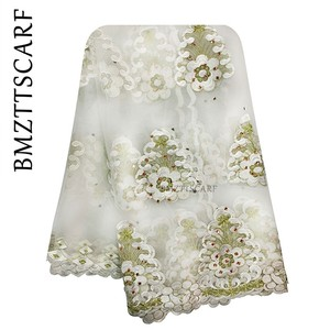 Image 4 - New African Women Scarf Good Quality Plain Embroidery with Stones Soft Net Scarf for Headscarf Wraps BM955