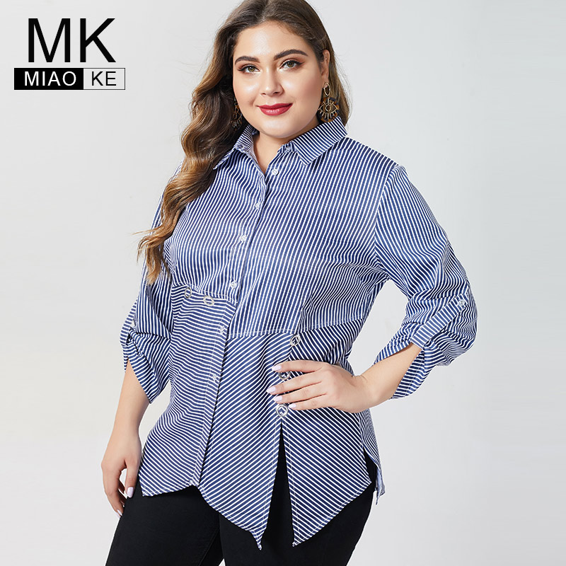 MK 2019 Autumn Womens Plus Size Long Sleeve Tops And Blouses Fashion Ladies Femal Casual Stripe Shirts