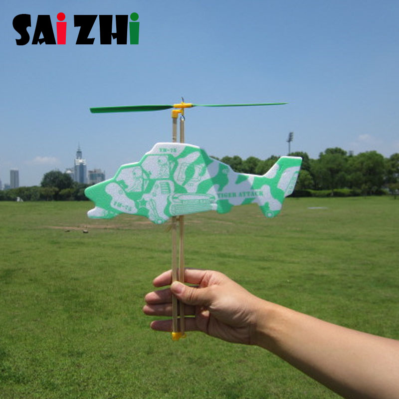 Saizhi Model Diy Elastic Powered Helicopter Developing Intelligent STEM Toy Science Experiment Kit Kids Lab Set Birthday Gift