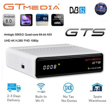 GTmedia GTS 2 in 1 Android TV Box Satellite Receiver TV 4K H.265 HDR Quad Core 2G 8G WIFI BT4.0 Set Top Box free 1year cline android 8 1 tv box r tv box s10 plus rk3328 quad core 4gb 32gb wifi 4k h 265 usb3 0 smart set top tv box