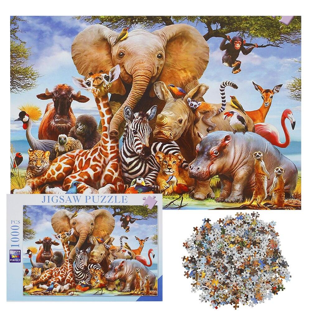 동물 코끼리 시리즈 퍼즐 1000 조각 교육 완구 지그 소 퍼즐 게임 어린이를위한 오션 월드 성인 액션 피규어 장난감