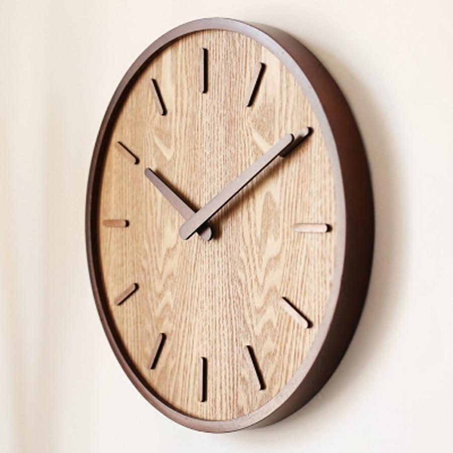 Creative grande horloge murale en bois de bambou Simple Design moderne montre salon horloges en bois silencieux pas de verre décor à la maison 14 pouces