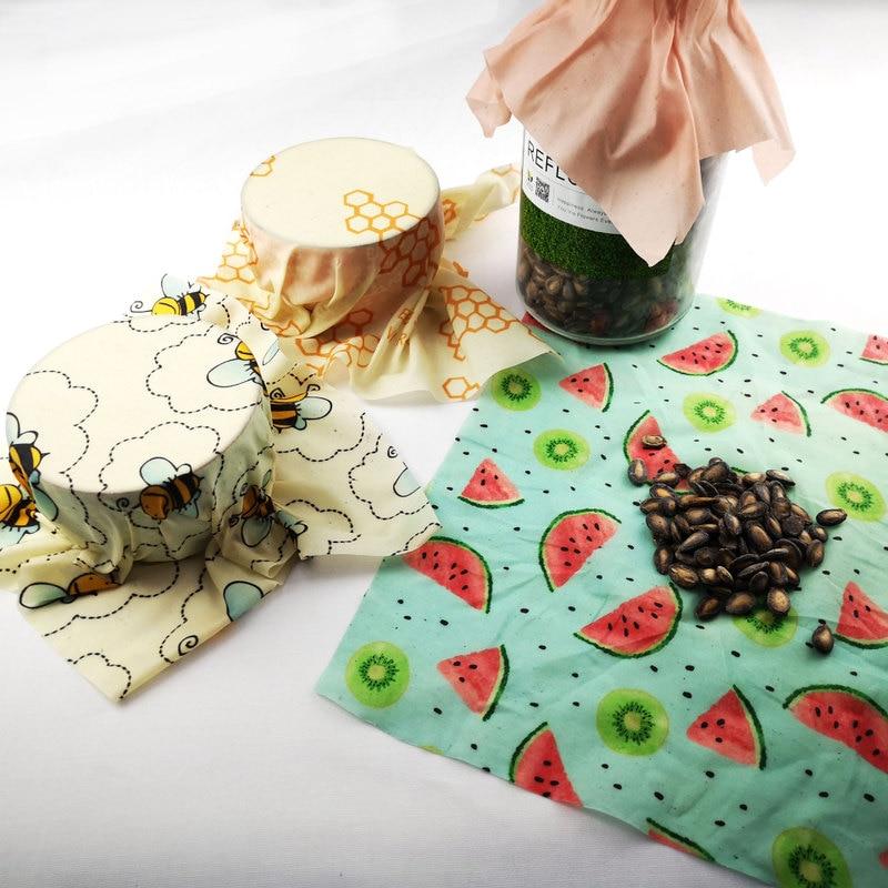 Визуальный сенсорный ладонь органический пчелиный воск ткань сэндвич пакет свежего хранения мешок крышка пищевая пчелиный воск обертывание стрейч уплотнение - Цвет: Random Color