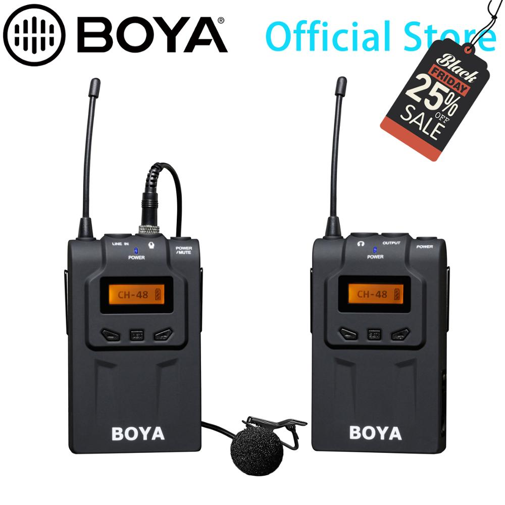 BOYA UHF Ultra High Frequency 48 Channel Camera Wireless Lavalier Microphone System For IPhone 11 X 8 Canon DSLR Sony Camcorders