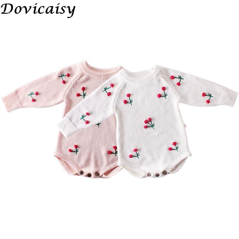 Automne tricoté bébé barboteuse cerise imprimé nouveau-né bébé vêtements 100% coton tricot pull enfant en bas âge bébé combinaison salopette