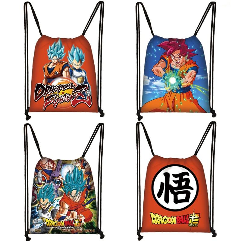 Anime Dragon Ball Drawstring Bag Goku Saiyan Canvas Backpack Teenager Boys Bookbag Storage Bags