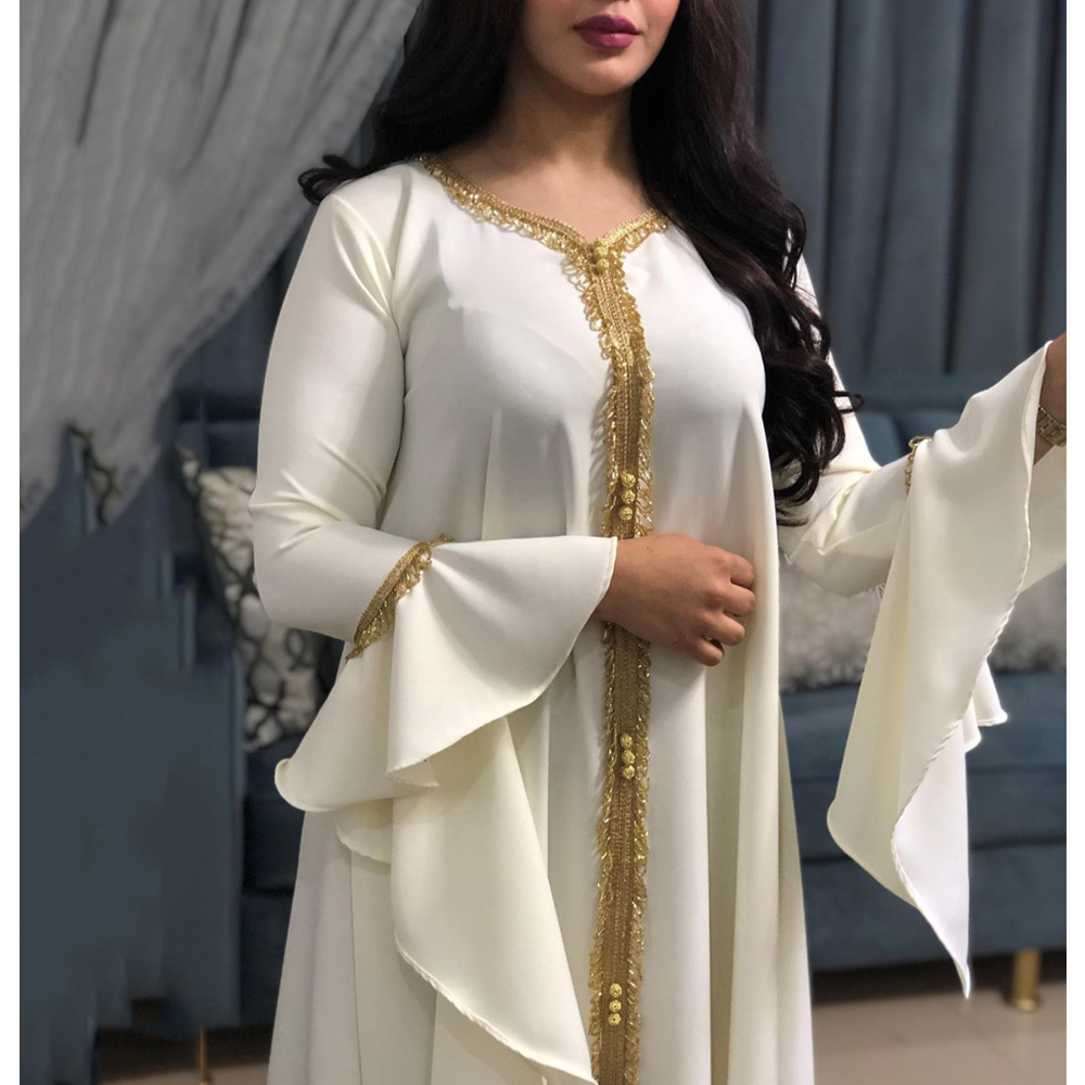 MD Arabic Dress Tassel White Abaya Women Djellaba Muslim Fashion Islamic Clothing For Girls Lotus Sleeve