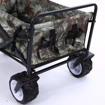 Wózek widłowy 4 koła Heavy Duty torba składana strona główna wózek ogrodowy wózek składany Wagon ręcznie ciągnąć taczki obóz koła do wózka tanie i dobre opinie 80kg 486516 Iron Rubber Oxford large capacity Gardening Cart 1000x500x750mm 14100 gram 12500 gram home garden foldable wagon