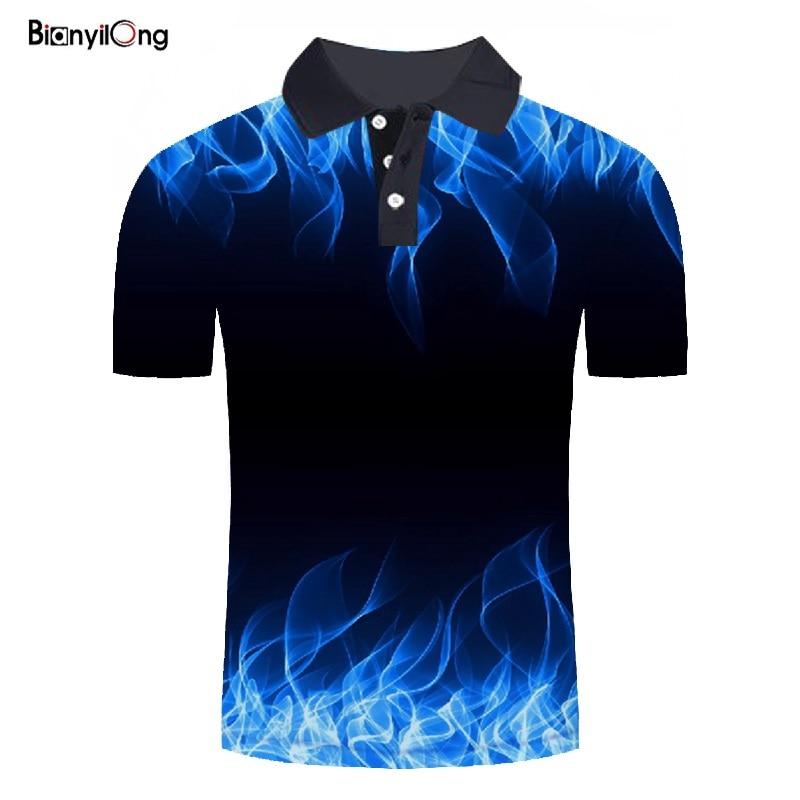 BIANYILONG 2019 new   polo   shirt men Business Casual male   polo   shirt Short Sleeve Blue flame 3D print tops   polo   homme   polo   shirt