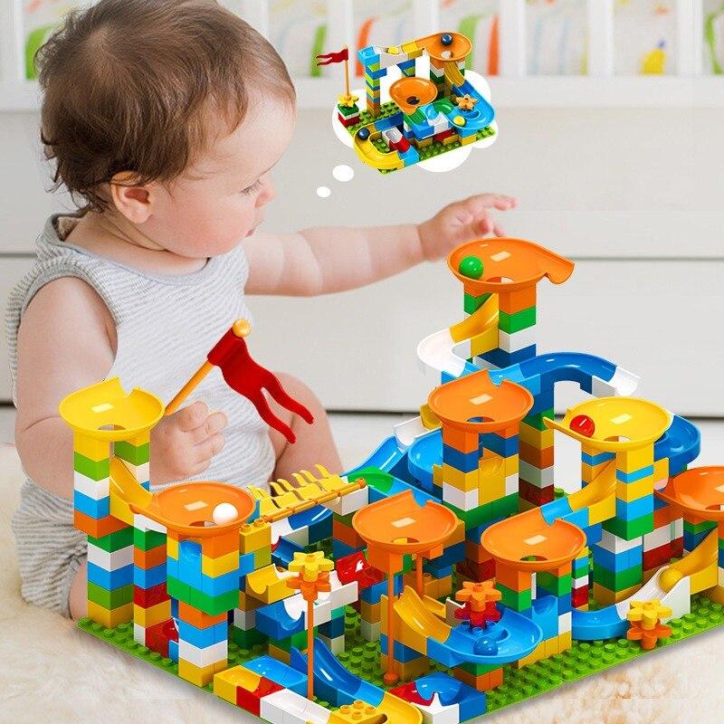 Big Block de carreras de canicas para niños, 86-303pcs-344uds, Compatible con bloques de construcción, toboganes de embudo, juguetes grandes para niños, regalo